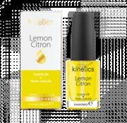 Huile Essentielle au Citron 15 ml dans son carton d'emballage Nos soins traitants Kinetics